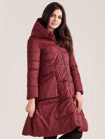 Bordowa asymetryczna kurtka zimowa                                  zdj.                                  3