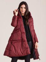 Bordowa asymetryczna kurtka zimowa                                  zdj.                                  6
