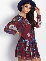 Bordowa kwiatowa sukienka                                  zdj.                                  2