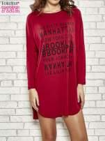 Bordowa sukienka z napisem NEW YORK CITY