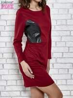 Bordowa sukienka ze skórzanymi wstawkami