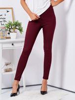 Bordowe dopasowane spodnie high waist                                  zdj.                                  1