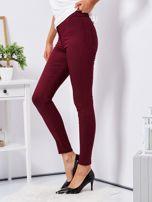 Bordowe dopasowane spodnie high waist                                  zdj.                                  3