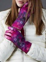 Bordowe rękawiczki damskie w kolorową kratę                                  zdj.                                  1