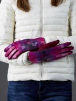 Bordowe rękawiczki damskie w kolorową kratę                                  zdj.                                  2