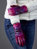 Bordowe rękawiczki damskie w kolorową kratę                                  zdj.                                  3