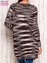 Bordowy otwarty melanżowy sweter                                                                           zdj.                                                                         4