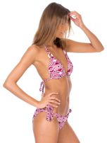 Bordowy strój kąpielowy bikini w geometryczne wzory                                  zdj.                                  4