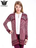 Bordowy sweter kardigan dziergany w etniczne wzory                                                                          zdj.                                                                         1