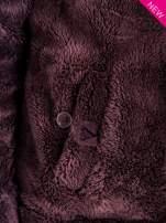 Brązowa bluza polarowa z kapturem z uszkami i pomponami                                  zdj.                                  8
