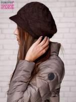 Brązowa dziergana czapka z daszkiem                                  zdj.                                  2
