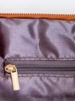 Brązowa kopertówka z dżetami motyw ust