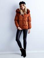 Brązowa kurtka zimowa pikowana                                  zdj.                                  4