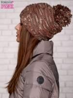 Brązowa melanżowa czapka z pomponem