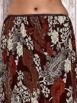 Brązowa plisowana spódnica midi z brokatem                                  zdj.                                  5