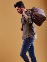 Brązowa skórzana męska torba podróżna                                  zdj.                                  8