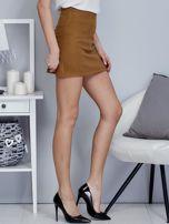 Brązowa spódnica trapezowa z suwakiem                                  zdj.                                  5