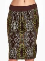 Brązowa spódnica z nadrukiem ornamentowym                                  zdj.                                  5