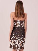 Brązowa sukienka koktajlowa w kolorowe grochy                                  zdj.                                  3