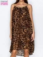 Granatowa sukienka w panterkę na złotych ramiączkach                                                                          zdj.                                                                         1