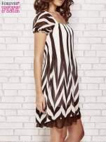 Brązowa sukienka w paski z bufiastymi rękawkami                                                                          zdj.                                                                         3