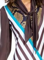 Brązowa sukienka z  wiązaniem przy dekolcie i nadrukiem skóry węża                                  zdj.                                  7