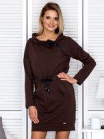 Brązowa sukienka z wstążkami                                   zdj.                                  1