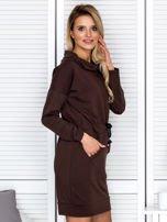 Brązowa sukienka z wstążkami                                   zdj.                                  3