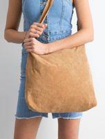 Brązowa sztruksowa torba z napisem                                  zdj.                                  3