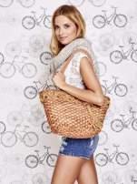 Brązowa torba koszyk plażowy z frędzlem                                                                          zdj.                                                                         7
