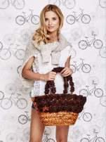 Brązowa torba koszyk plażowy z ozdobnymi kwiatami                                  zdj.                                  7
