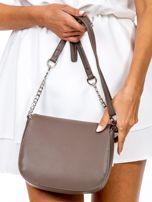 Brązowa torba listonoszka z ozdobnymi suwakami                                  zdj.                                  4