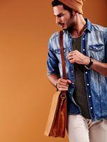 Brązowa torba męska na ramię ze skóry naturalnej                                  zdj.                                  3
