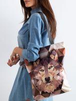 Brązowa torba z nadrukiem wilka                                  zdj.                                  1