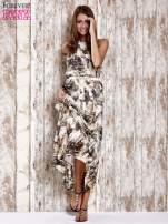 Brązowa wzorzysta sukienka maxi z dżetami                                   zdj.                                  4