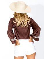 Brązowa zamszowa bluzka z szerokimi rękawami                                  zdj.                                  3