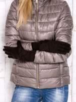Brązowe długie rękawiczki z kokardą i prążkowanym ściągaczem