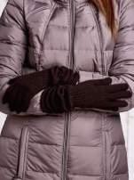 Brązowe długie rękawiczki z marszczonym ściągaczem                                   zdj.                                  2