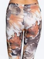 Brązowe legginsy w wielobarwne wzory                                  zdj.                                  7