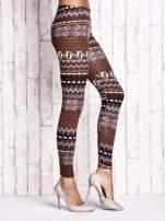Brązowe legginsy w zimowy motyw                                                                          zdj.                                                                         2