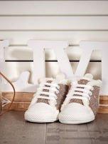 Brązowe ocieplane buciki dziecięce w wzór jodełki                                  zdj.                                  1