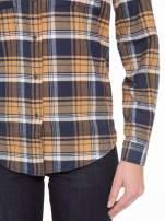 Brązowo-granatowa damska koszula w kratę z kieszonkami                                  zdj.                                  8