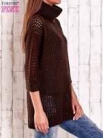 Brązowy ażurowy sweter z golfem FUNK N SOUL                                                                          zdj.                                                                         4