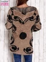 Brązowy otwarty sweter z kapturem                                  zdj.                                  4