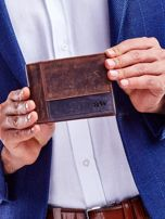 Brązowy portfel dla mężczyzny z geometrycznymi przeszyciami                                  zdj.                                  2