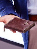 Brązowy portfel dla mężczyzny zapinany na suwak                                  zdj.                                  5