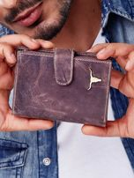 Brązowy portfel męski skórzany z przetarciami                                  zdj.                                  1