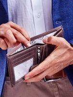 Brązowy portfel męski ze skóry naturalnej na zatrzask                                  zdj.                                  4