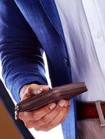 Brązowy skórzany portfel dla mężczyzny na suwak                                  zdj.                                  5