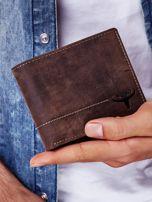 Brązowy skórzany portfel z poziomym przeszyciem                                  zdj.                                  5